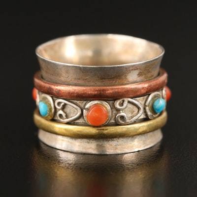 Sterling Coral and Magnesite Band