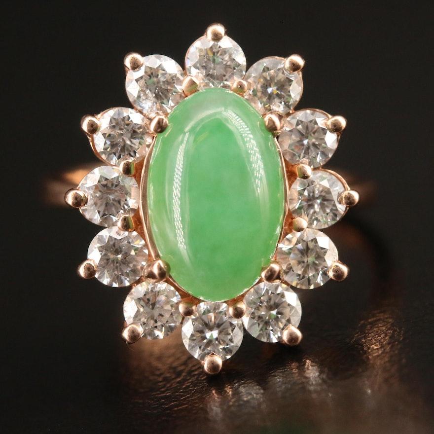 EFFY 14K Rose Gold Jadeite and 1.68 CTW Diamond Ring