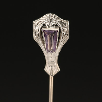 Vintage 14K Amethyst Stick Pin with Milgrain Detail
