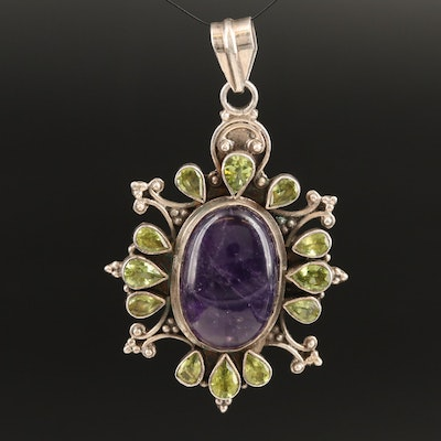 Sterling Amethyst and Peridot Pendant