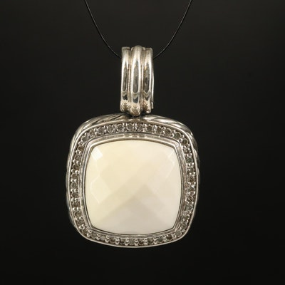 "David Yurman ""Albion"" Sterling Agate and Diamond Pendant"