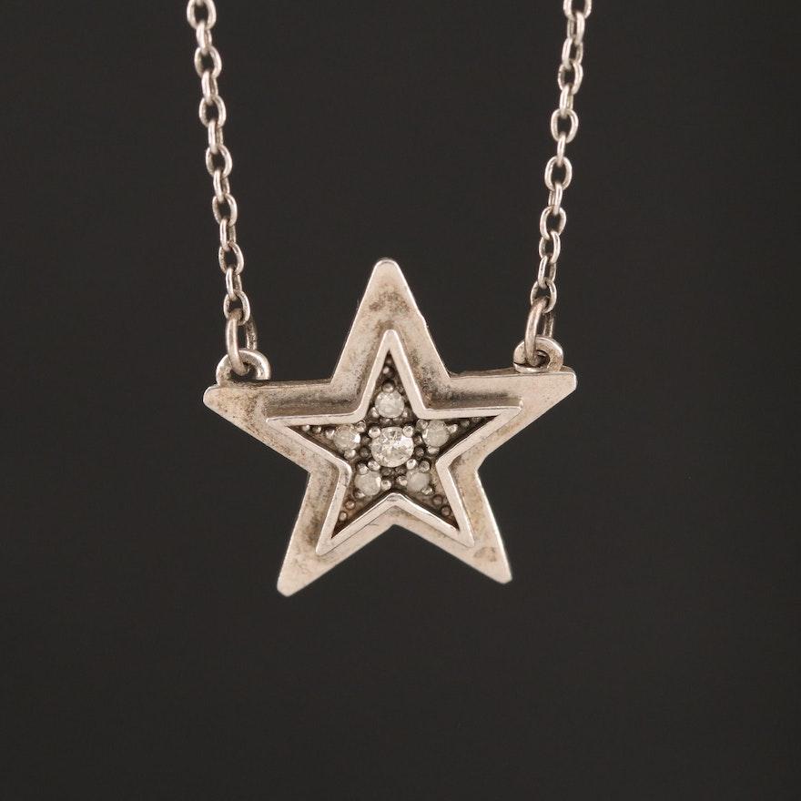 Adina Reyter Sterling Diamond Star Necklace