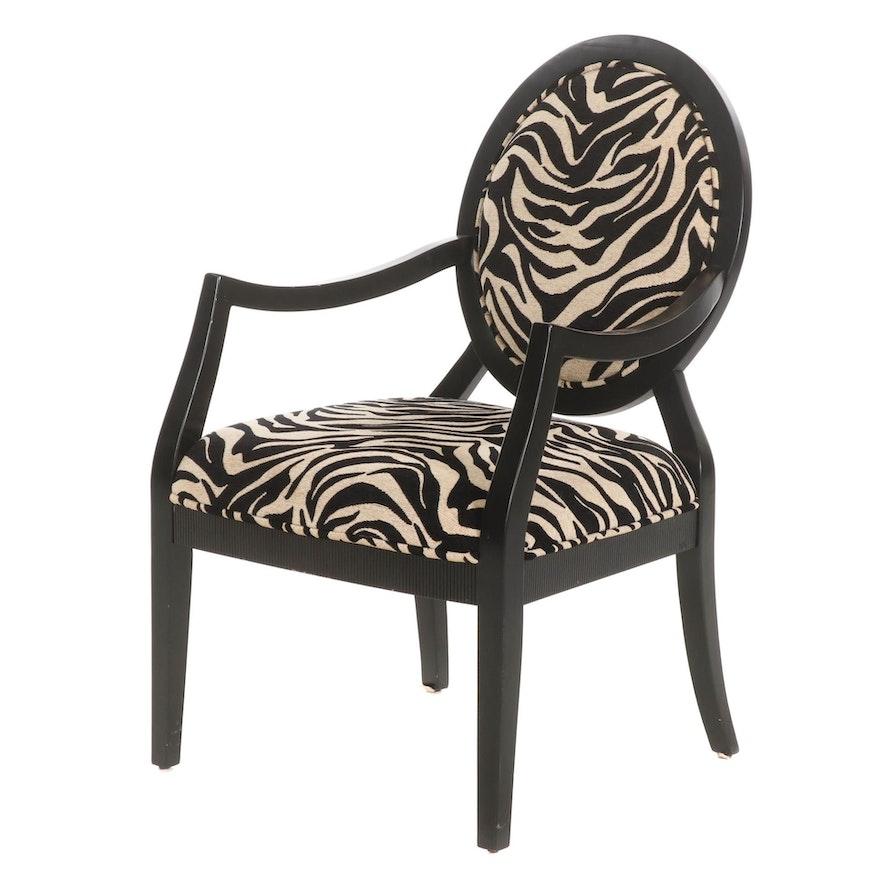 Contemporary Ebonized Wood Armchair with Zebra Print Upholstery