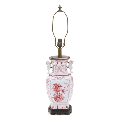 Chinese Hand-Painted Red and White Vase Shaped Table Lamp, Late 20th Century