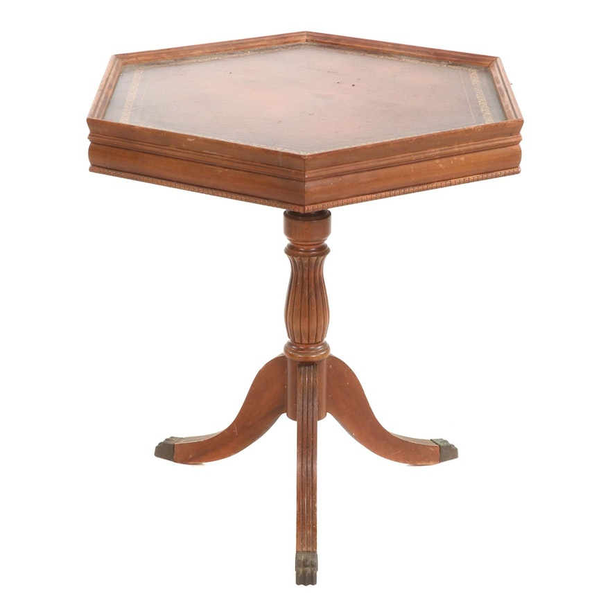 Federal Style Hexagonal Tripod Side Table, Mid-20th Century