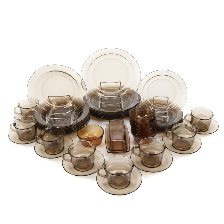 Anchor Hocking, Pyrex, Arcoroc Smoke Glass Dinnerware and Table Accessories