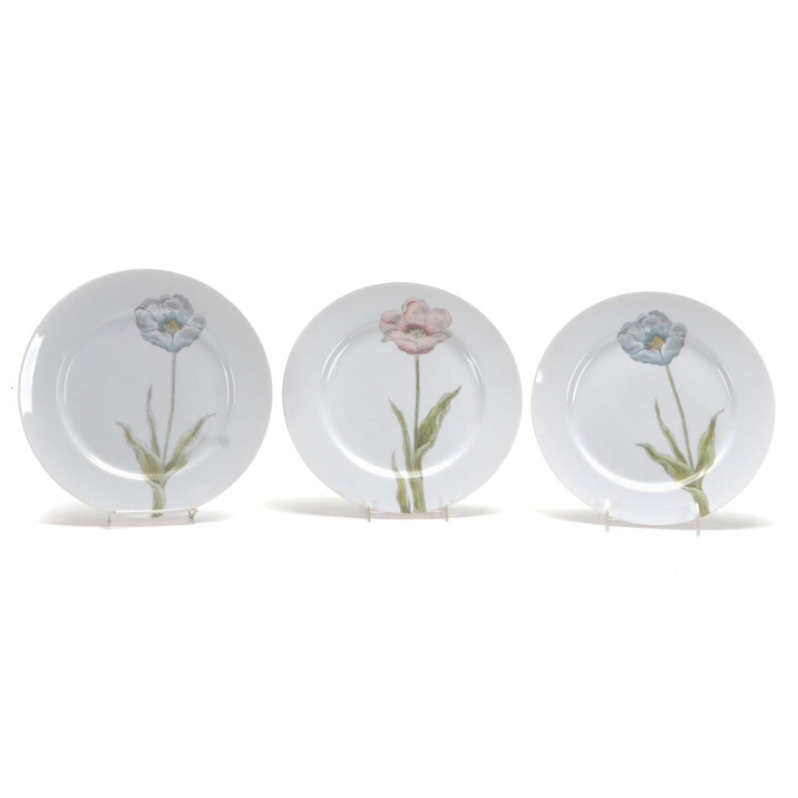"Fitz and Floyd ""Pastel Poppy"" Porcelain Dinner Plates"