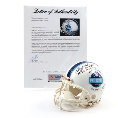 HOFers Young, Moon, Carson and Wright Signed 2006 NFL Pro Bowl Mini Helmet PSA