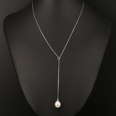 Sterling Silver Pearl Lariate Necklace