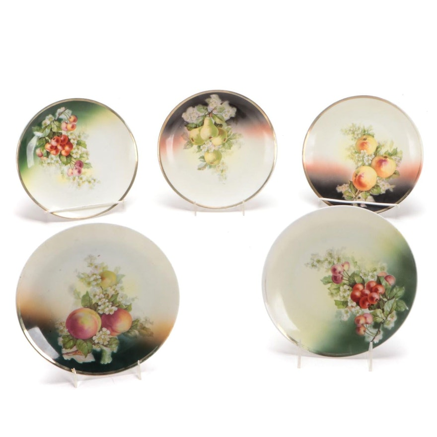 Three Crown China of Germany Floral Porcelain Plates, Early 20th C.