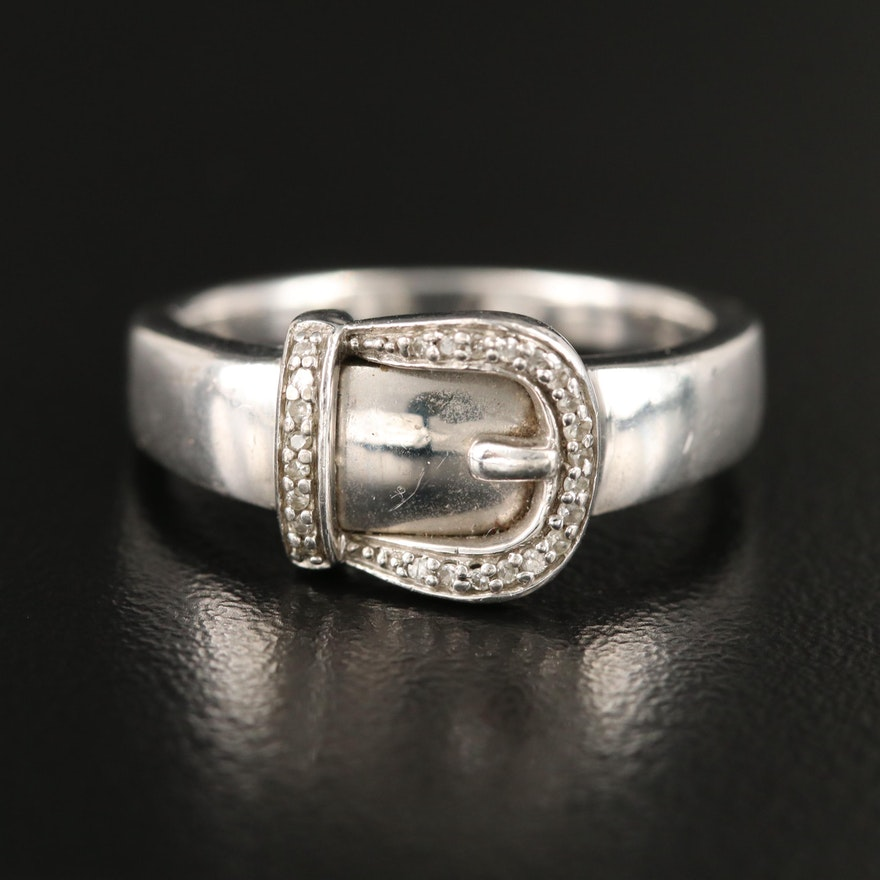 Sterling Diamond Buckle Band