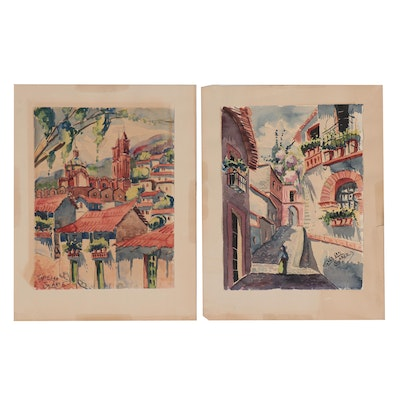 "Watercolor Paintings of Mexican Street Views ""Taxco,"" Mid-20th Century"