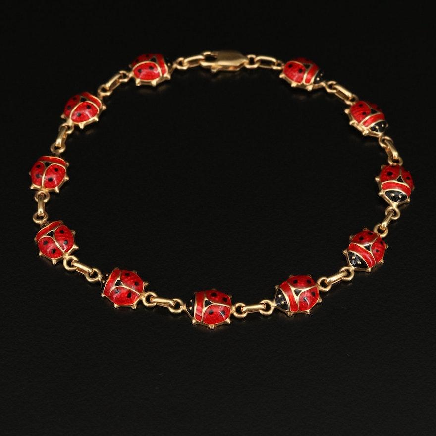 14K Enamel Ladybug Link Bracelet