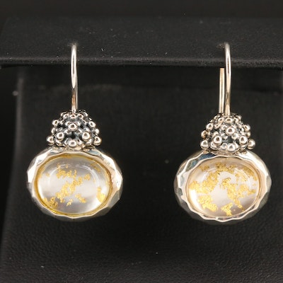 Michael Dawkins Sterling Silver Quartz and Mother of Pearl Doublet Earrings