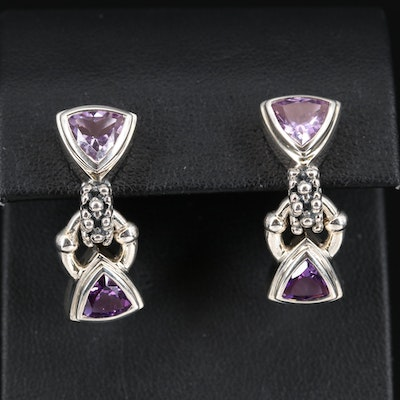 Michael Dawkins Sterling Amethyst Triangular Dangle Earrings