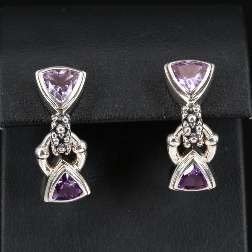 Michael Dawkins Sterling Amethyst Triangular Dangle Earrings
