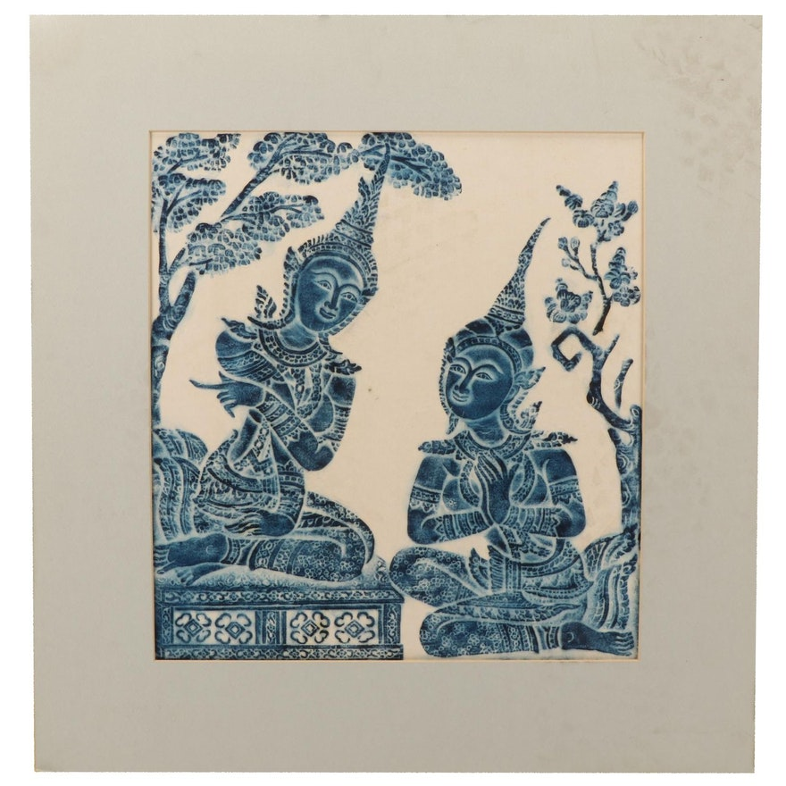 Thai Temple Rubbing of Seated Figures, Late 20th to 21st Century