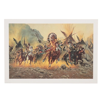 """Frank C. McCarthy Offset Lithograph """"To Battle,"""" 1977"""