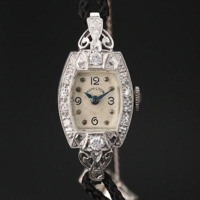 Platinum Hamilton Wristwatch with Diamond and Cubic Zirconia Accents, Circa 1953