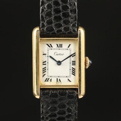 Swiss Cartier Gold Plated Sterling Silver Stem Wind Wristwatch