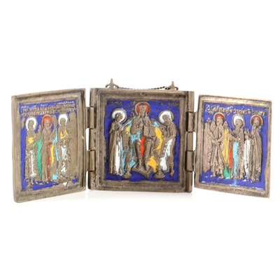 Eastern Orthodox Enamel and Brass Traveling Triptych Icon, Antique