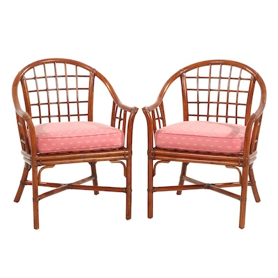 Pair of Bentwood and Rattan Armchairs with Dragonfly Embroidered Cushions