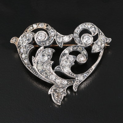Edwardian Platinum Silver Alloy and 14K 1.96 CTW Diamond Brooch