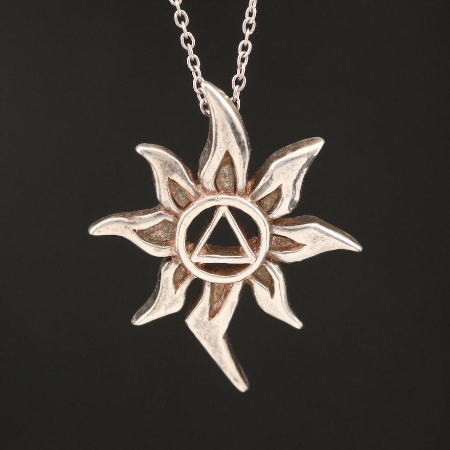 Sterling Fire Burst Pendant Necklace