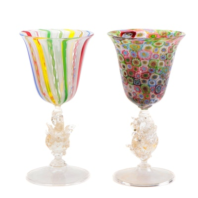 Venetian Latticino and Millefiori Murano Glass Goblets with Swan Stems