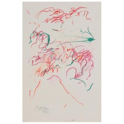 Nicholas Barbieri Gestural Pastel Drawing, 1982