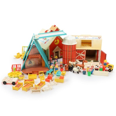Fisher-Price Play Family Farm, School, and A-Frame, Vintage