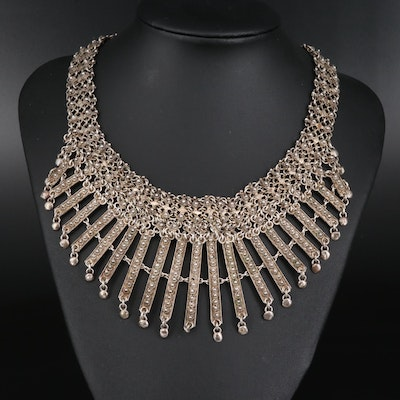 Vintage 900 Silver Cannetille Fringe Necklace
