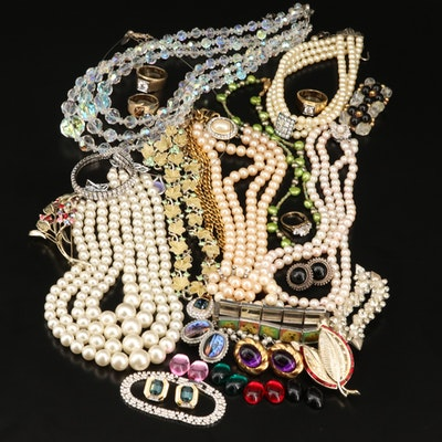 Vintage Jewelry Featuring Rhinestones and Pearls