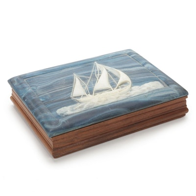 Dante Incolay Stone Box with Ship Motif in American Walnut, Mid/Late 20th C.