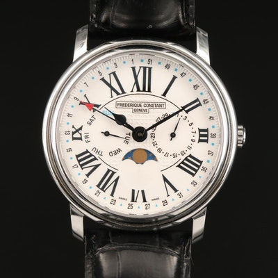 Frederique Constant Classics Business Timer Moonphase Stainless Steel Wristwatch