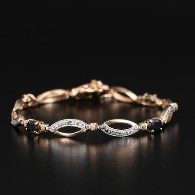 Sterling Corundum and Diamond Bracelet