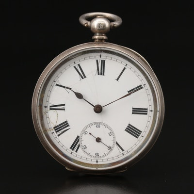 Antique Swiss Sterling Silver Key Wind Open Face Pocket Watch