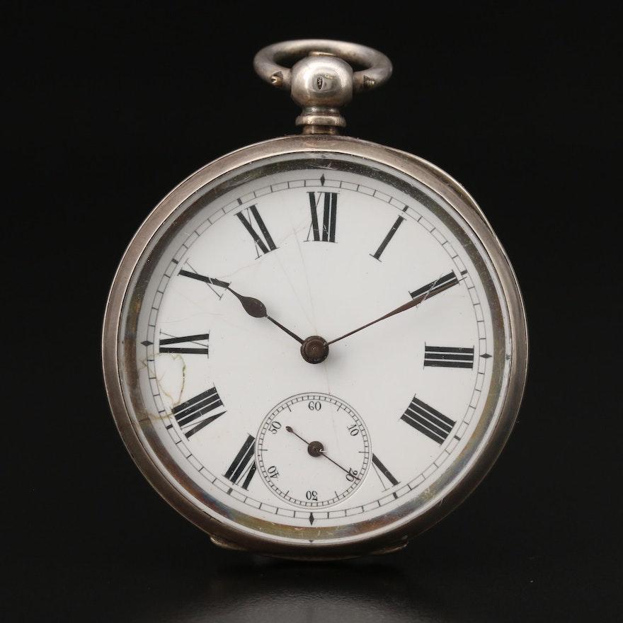 Antique Swiss Sterling Silver Key Wind Open Face Pocket Watch