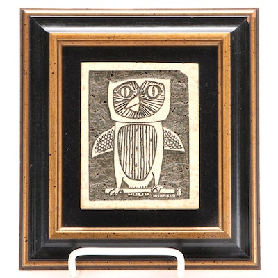 Rodney Winfield Carved Travertine Owl Relief Sculpture, circa 1971