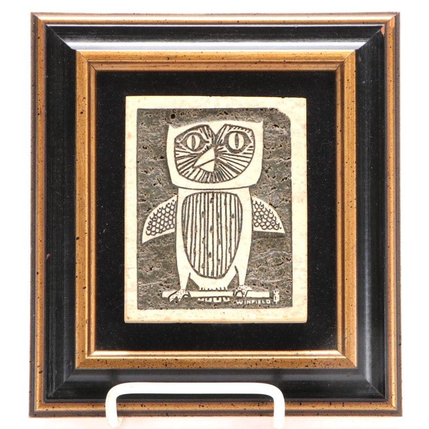 Rodney Winfield Carved Travertine Owl Relief Sculpture, circa 1971