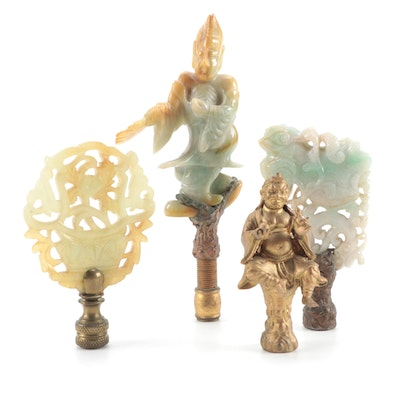 East Asian Carved Jadeite, Serpentine and Metal Lamp Finials