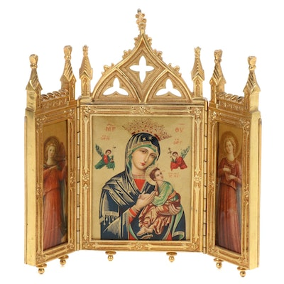 East European Icon Triptych Brass Frame
