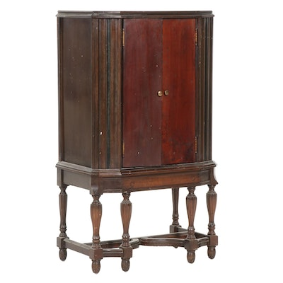 Jacobean Style Mahogany-Stained Music Cabinet on Stand, circa 1930
