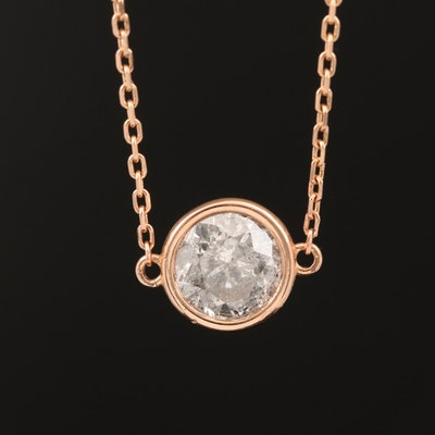 18K Rose Gold 1.04 CT Diamond Solitaire Necklace