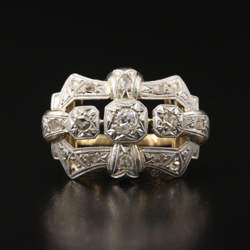 Victorian Diamond Openwork Ring with Platinum Accent
