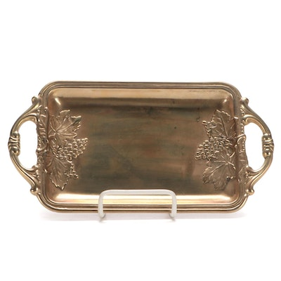 Italian Brass Embossed Grape Cluster Decorative Tray