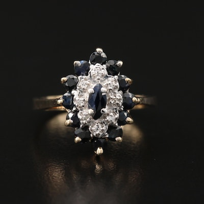10K Sapphire and Diamond Cluster Ring