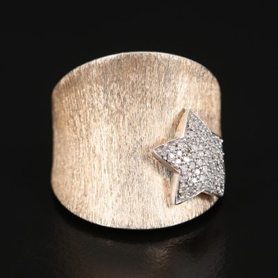 Sterling Saddle Ring with Diamond Encrusted Star Accent