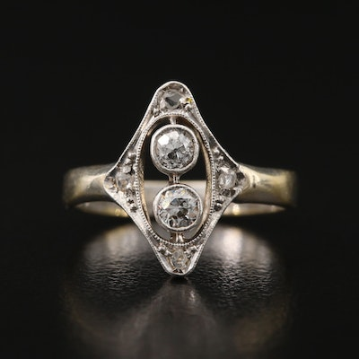Victorian Diamond Ring with Platinum Accent