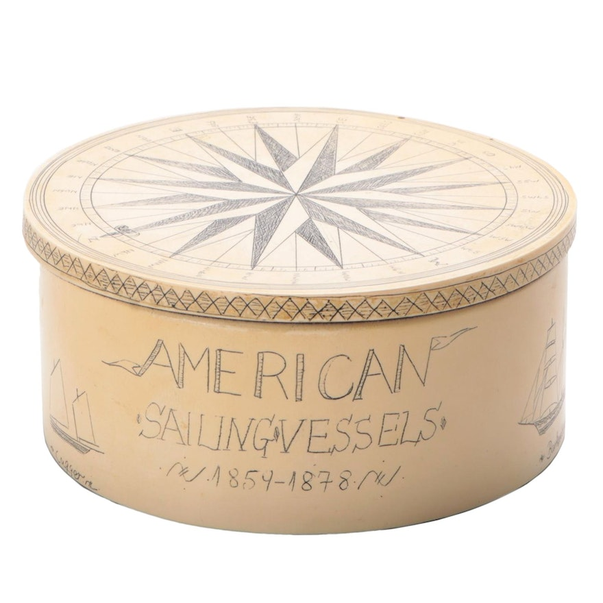 """""""American Sailing Vessels"""" Scrimshaw Style Resin Box, Late 20th C."""